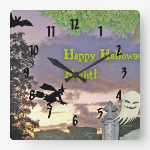 Happy Halloween Night Witch Ghost & Owl Square Wallclocks