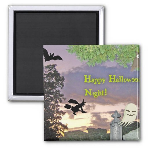Happy Halloween Night Witch Ghost & Owl Magnets