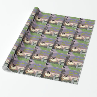 Happy Halloween Night Witch Ghost & Owl Gift Wrapping Paper