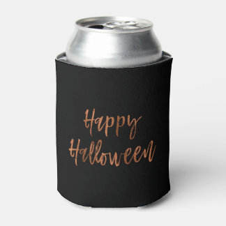 Happy Halloween Orange and Black Halloween Can Cooler