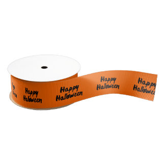 Happy Halloween Orange Black Brush Stroke Grosgrain Ribbon