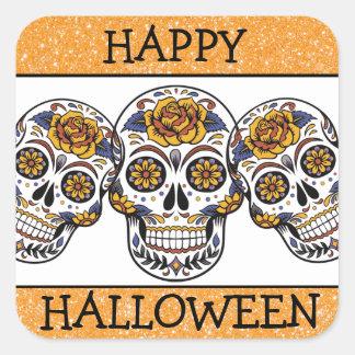 Happy Halloween Orange & Black Sugar Skull Sticker