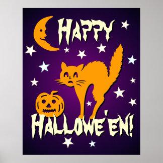 Happy Halloween Orange Cat Moon Pumpkin Posters