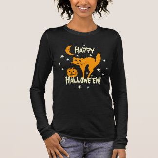Happy Halloween Orange Cat Pumpkin Crescent Moon Long Sleeve T-Shirt