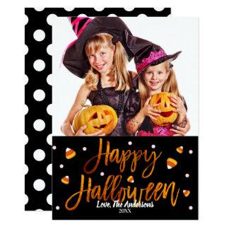 Happy Halloween Orange Foil Modern Script Photo Card