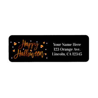 Happy Halloween Orange Foil Modern Script Trendy Return Address Label