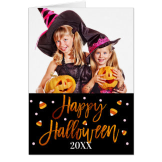 Happy Halloween Orange Foil Script Holiday Photo Card