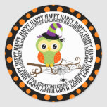 Happy Halloween Orange Owl Round Sticker