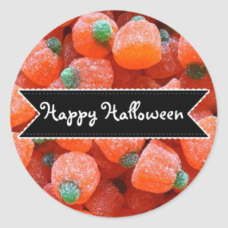 Happy Halloween Orange Pumpkin Candy Stickers