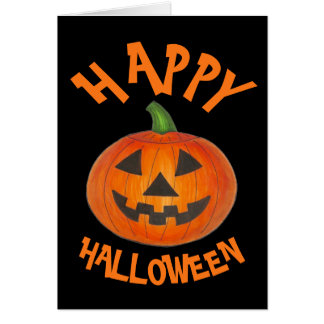 Happy Halloween Orange Pumpkin Jack o' Lantern Card