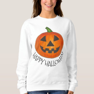 Happy Halloween Orange Pumpkin Jack o' Lantern Sweatshirt