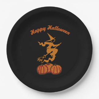 Happy Halloween - Orange Witch on Black Paper Plate