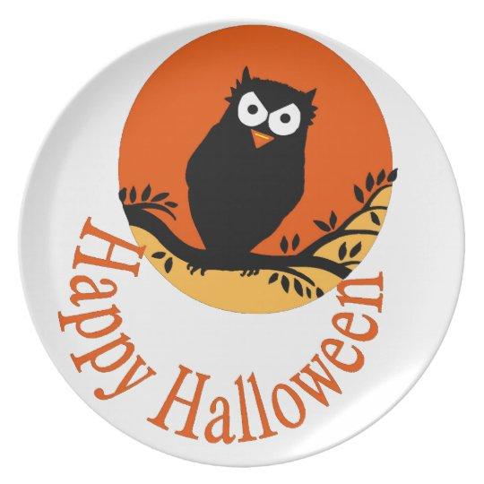 HAPPY HALLOWEEN OWL PLATE TWO