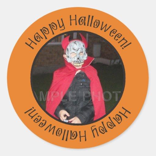 Happy Halloween Photo Frame Custom Orange Stickers