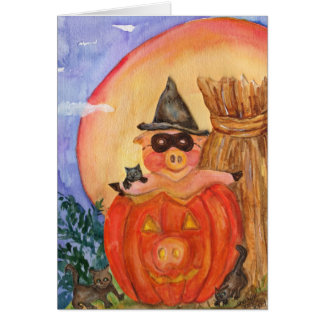 Happy Halloween Pig CARD  Kittens &  Jack O'Pig