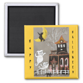 Happy Halloween Pig Ghosts Square Magnet