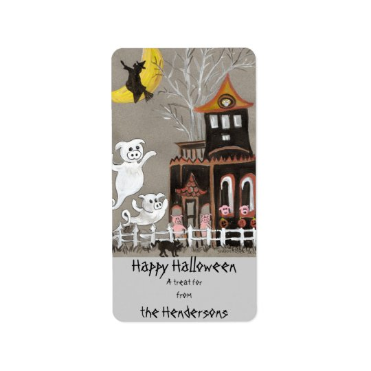 Happy Halloween Piggy Ghost - Treat Bag Labels
