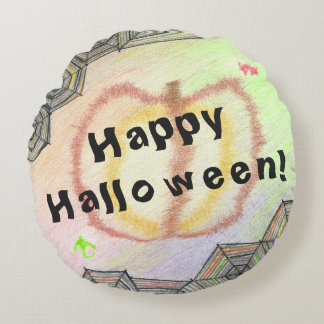 Happy Halloween! Playful Colourful Round Pillow