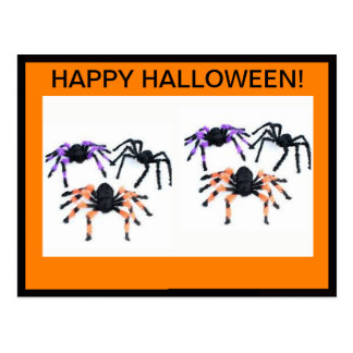 HAPPY HALLOWEEN POSTCARD WITH SCARY SPIDERS