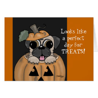 Happy Halloween-Pug in Jack O' Lantern Card