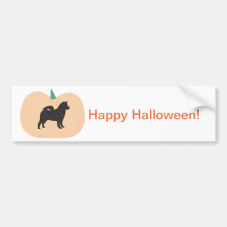 Happy Halloween Pumpkin Akita Bumper Sticker