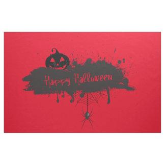 Happy Halloween pumpkin and spider grunge style Fabric