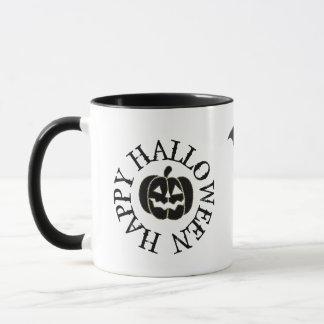 Happy Halloween Pumpkin Bat and Black Cat Mug