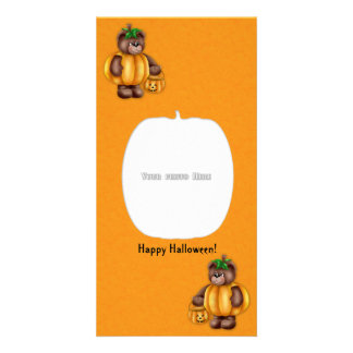 Happy Halloween Pumpkin Bear Photo Card