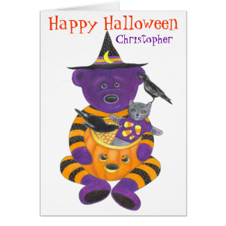 Happy Halloween Pumpkin Bear with Cat and Crows Card