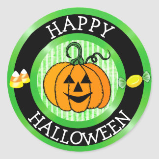 Happy Halloween Pumpkin & Candy Sticker