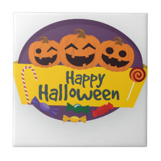 Happy Halloween Pumpkin Ceramic Tile