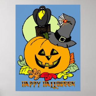 Happy Halloween - Pumpkin, Crow Poster
