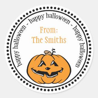 Happy Halloween Pumpkin Dot Circle Labels