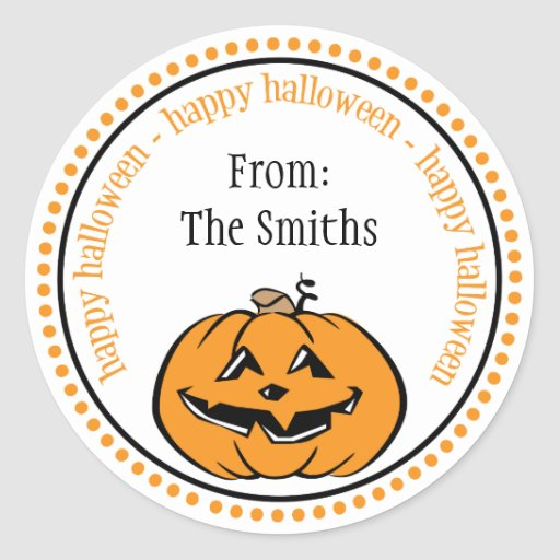 Happy Halloween Pumpkin Dot Circle Labels Stickers