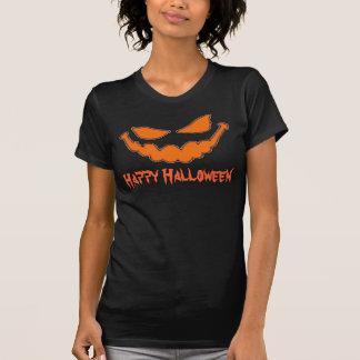 Happy Halloween Pumpkin Face Ladies T Shirt