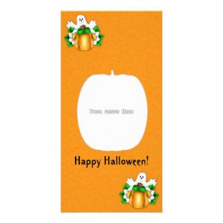 Happy Halloween Pumpkin Ghost Photo Card