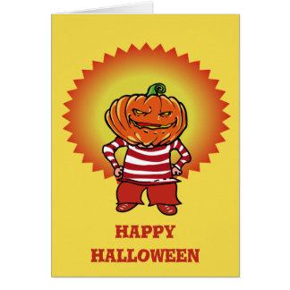 happy halloween pumpkin head kid cartoon style card
