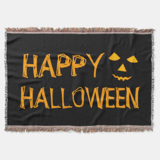 Happy Halloween Pumpkin Jack o Lanterns Halloween Throw Blanket