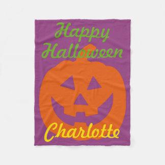 Happy Halloween Pumpkin on Purple Personalized Fleece Blanket