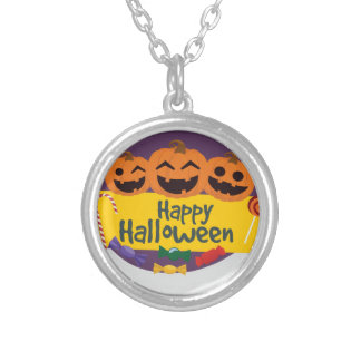 Happy Halloween Pumpkin Silver Plated Necklace