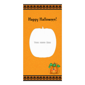 Happy Halloween Pumpkin Smiley Photo Card