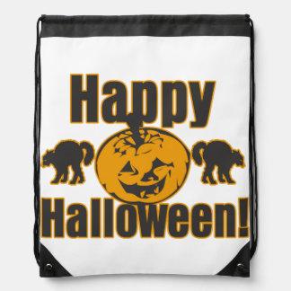 Happy Halloween Pumpkin Trick Or Treat Costume Bag Drawstring Backpacks