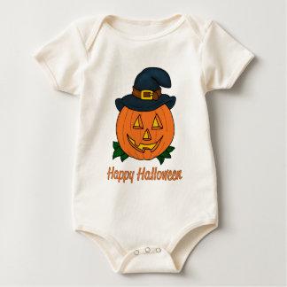 Happy Halloween Pumpkin with Hat Baby Bodysuit