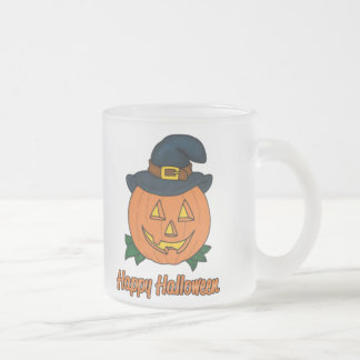 Happy Halloween Pumpkin with Hat Frosted Glass Coffee Mug