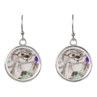 Happy Halloween Raccoon Earrings