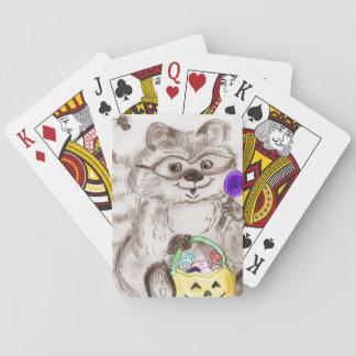 Happy Halloween Raccoon Playing Cards