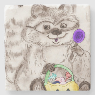 Happy Halloween Raccoon Stone Beverage Coaster
