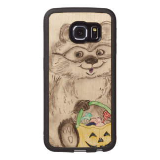 Happy Halloween Raccoon Wood Phone Case