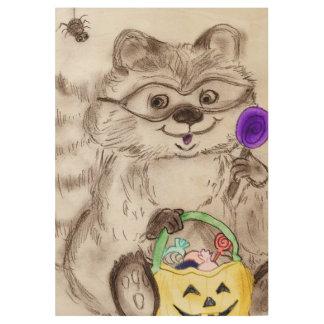 Happy Halloween Raccoon Wood Poster