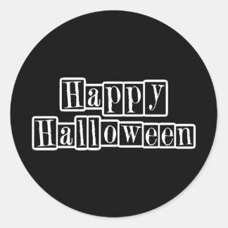 Happy Halloween Retro Blocks Round Sticker